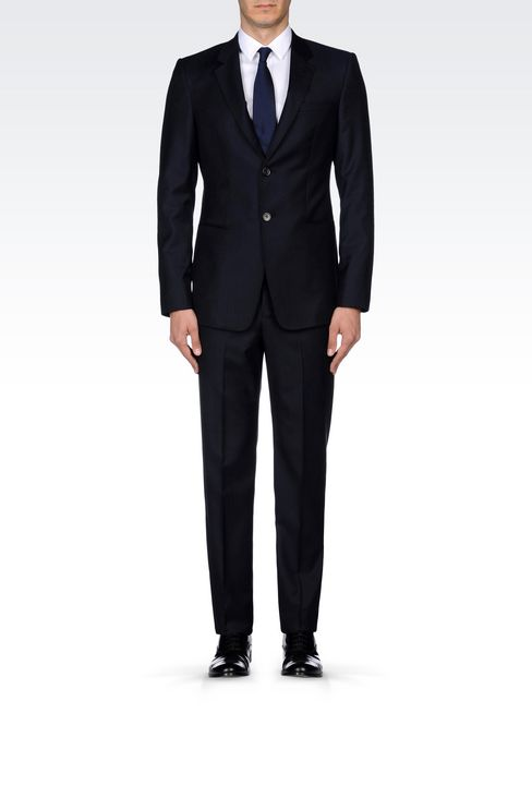 SINGLE-BREASTED SUIT IN PINSTRIPE WOOL: Two buttons suits Men by Armani - 2