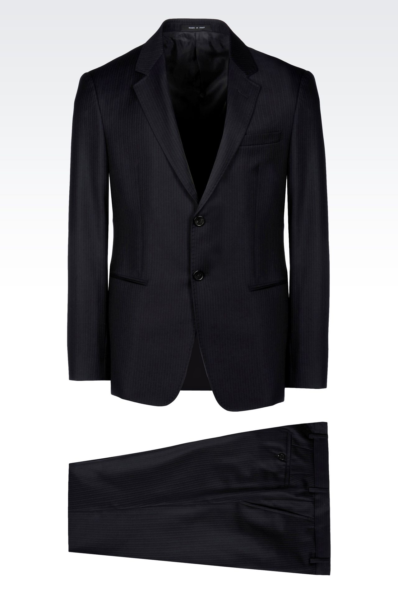 SINGLE-BREASTED SUIT IN PINSTRIPE WOOL: Two buttons suits Men by Armani - 0