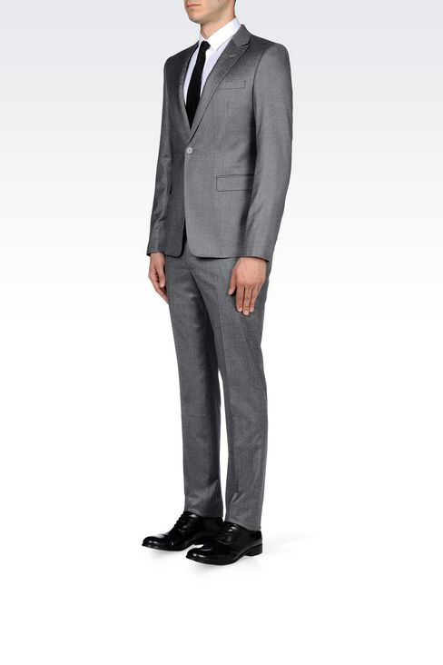 SINGLE-BREASTED SUIT IN CHINTZED FLANNEL: One button suits Men by Armani - 3