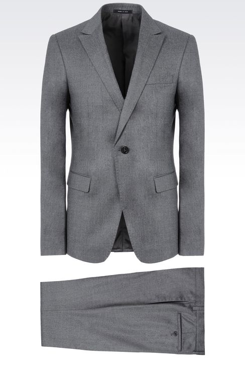 SINGLE-BREASTED SUIT IN CHINTZED FLANNEL: One button suits Men by Armani - 1