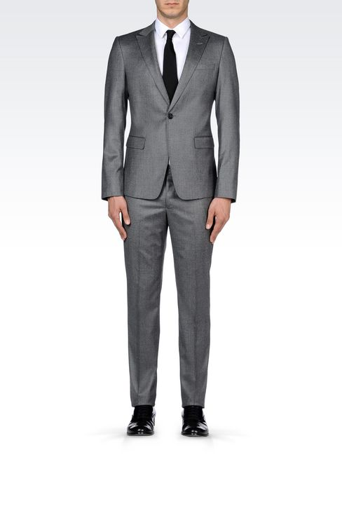 SINGLE-BREASTED SUIT IN CHINTZED FLANNEL: One button suits Men by Armani - 2