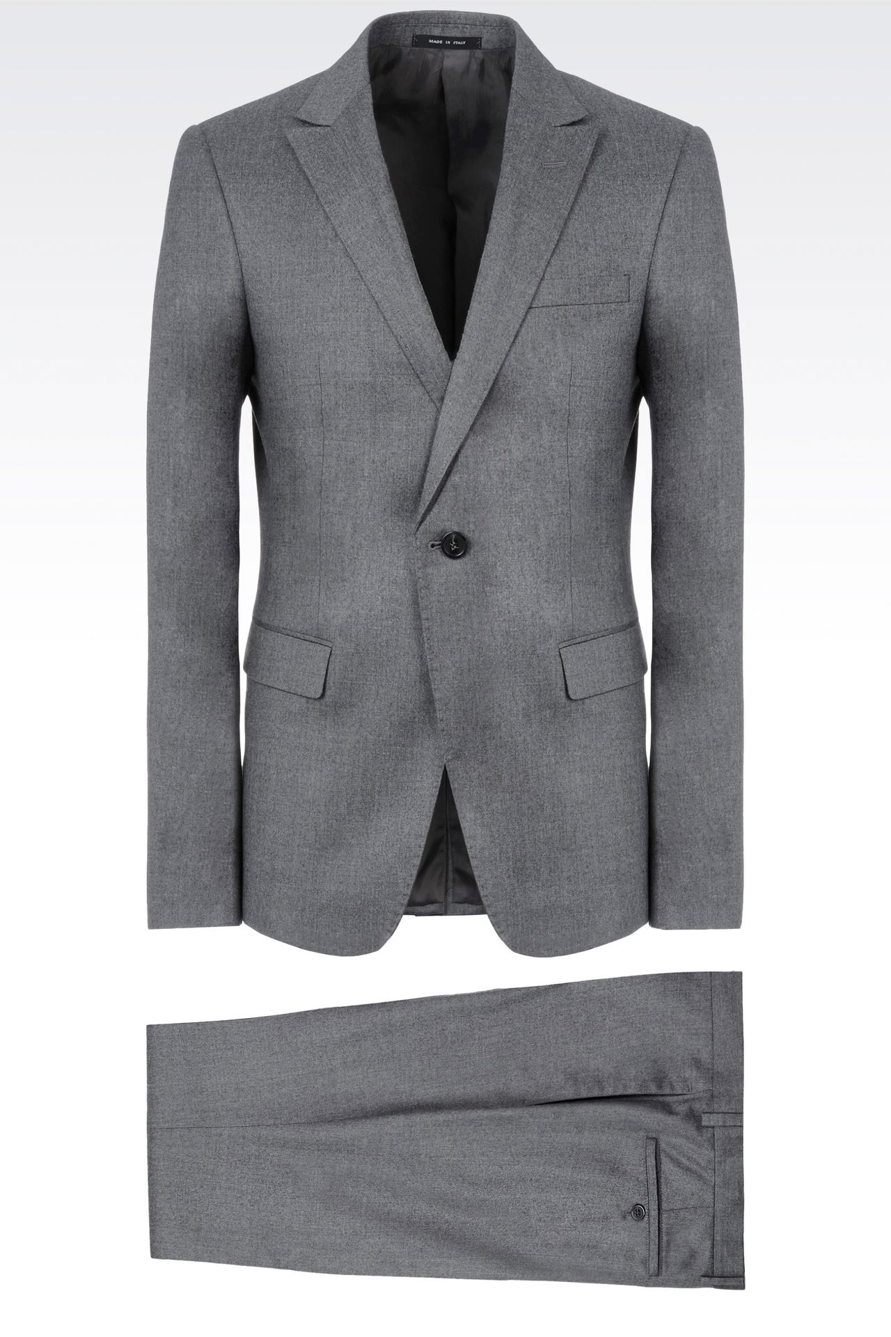 SINGLE-BREASTED SUIT IN CHINTZED FLANNEL: One button suits Men by Armani - 0