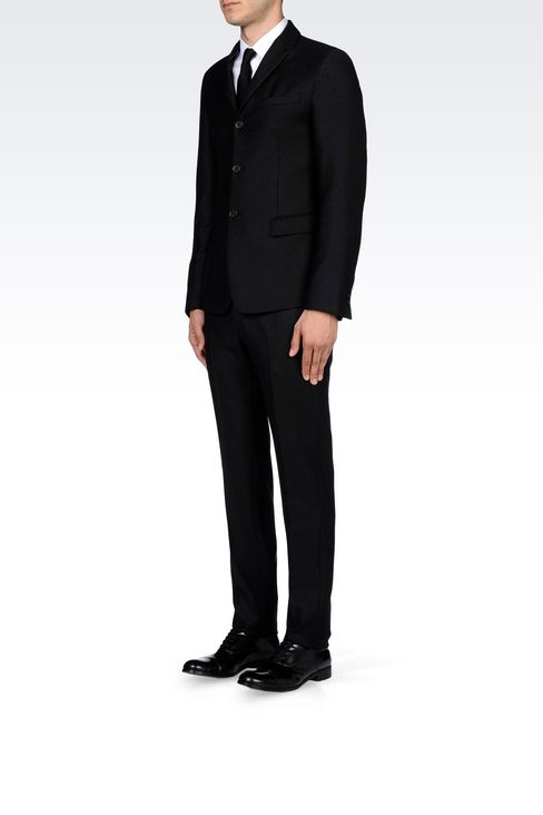 THREE-BUTTON RUNWAY SUIT IN CHEVRON WOOL: Three buttons suits Men by Armani - 3