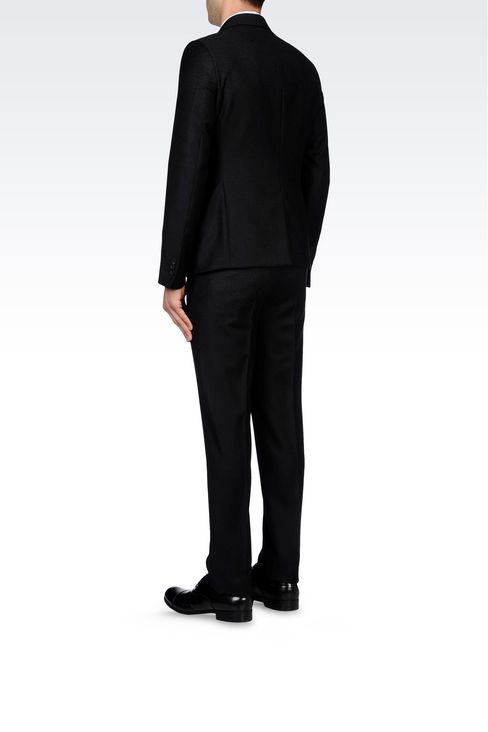 THREE-BUTTON RUNWAY SUIT IN CHEVRON WOOL: Three buttons suits Men by Armani - 4