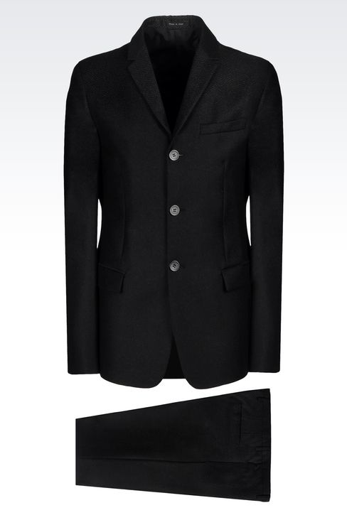 THREE-BUTTON RUNWAY SUIT IN CHEVRON WOOL: Three buttons suits Men by Armani - 1
