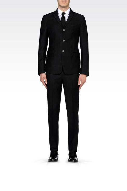 THREE-BUTTON RUNWAY SUIT IN CHEVRON WOOL: Three buttons suits Men by Armani - 2