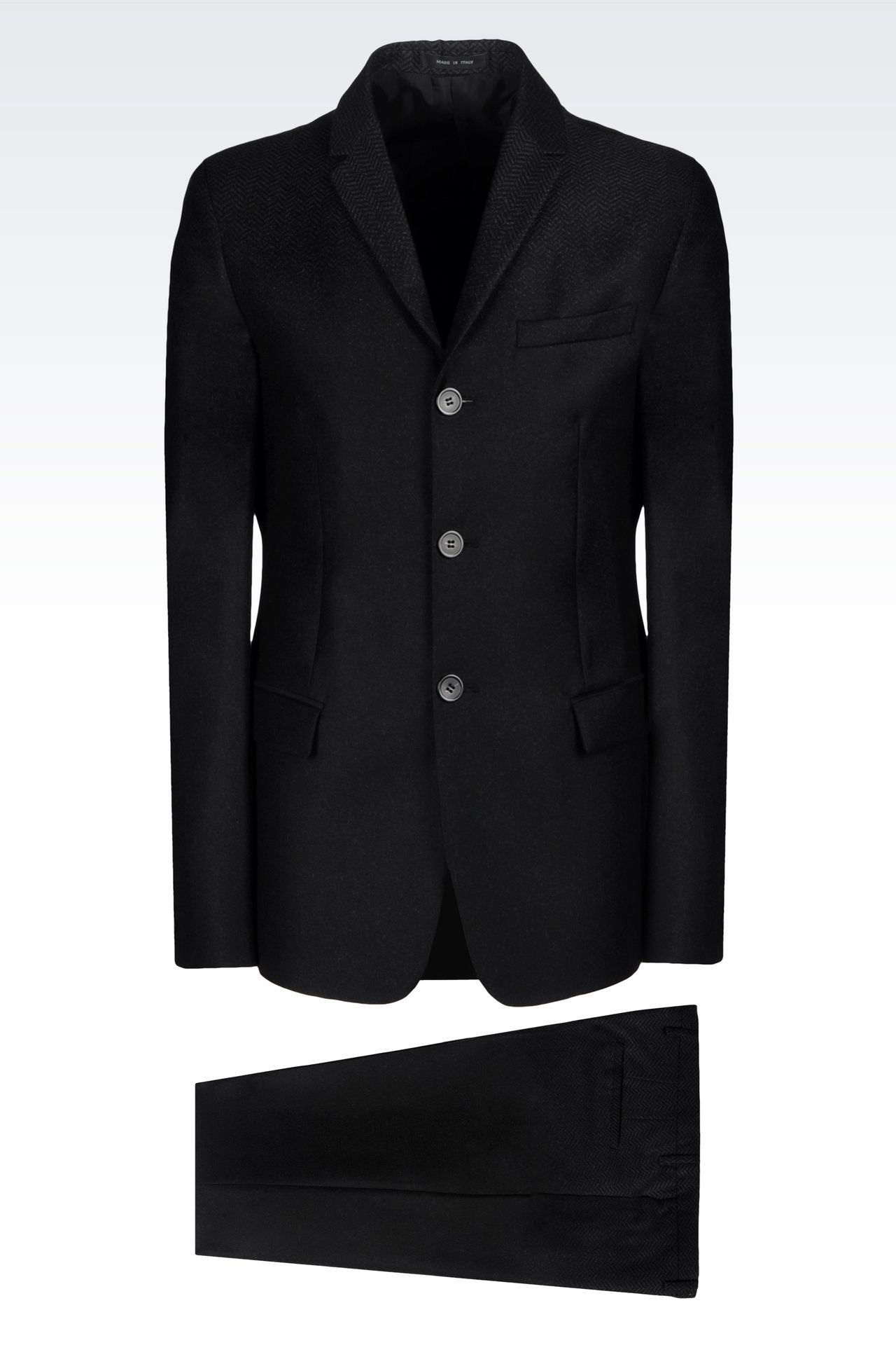 THREE-BUTTON RUNWAY SUIT IN CHEVRON WOOL: Three buttons suits Men by Armani - 0