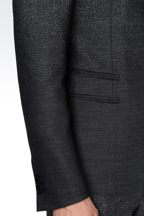 THREE-BUTTON RUNWAY SUIT IN STRETCH JACQUARD WOOL: Four button suits Men by Armani - 5