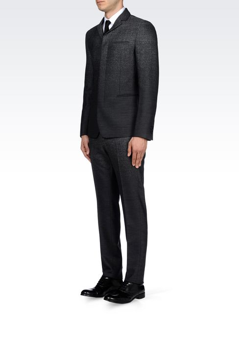 THREE-BUTTON RUNWAY SUIT IN STRETCH JACQUARD WOOL: Four button suits Men by Armani - 3