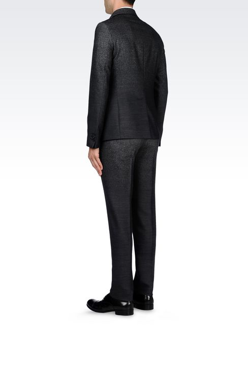 THREE-BUTTON RUNWAY SUIT IN STRETCH JACQUARD WOOL: Four button suits Men by Armani - 4