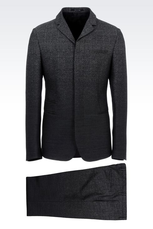 THREE-BUTTON RUNWAY SUIT IN STRETCH JACQUARD WOOL: Four button suits Men by Armani - 1
