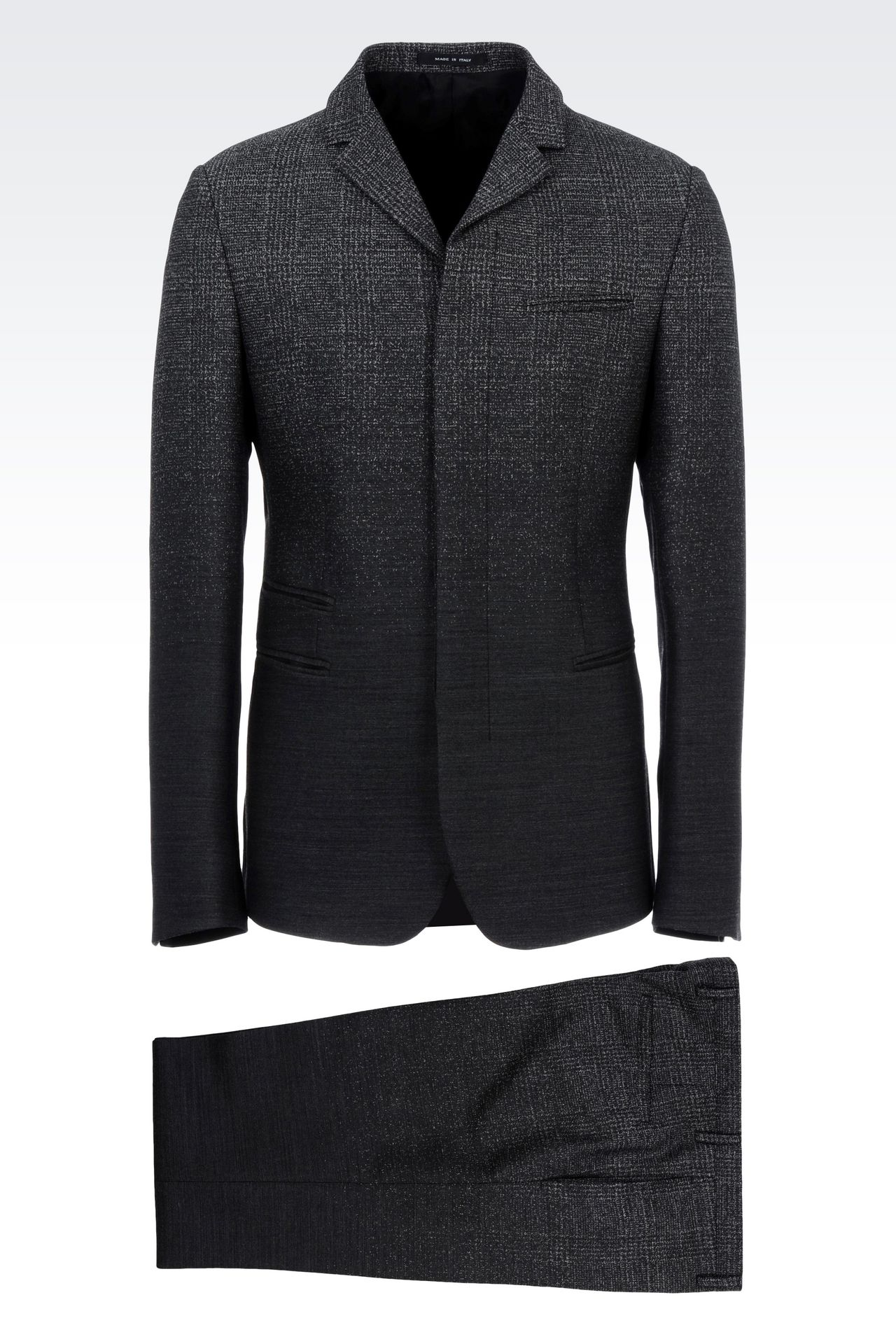 THREE-BUTTON RUNWAY SUIT IN STRETCH JACQUARD WOOL: Four button suits Men by Armani - 0