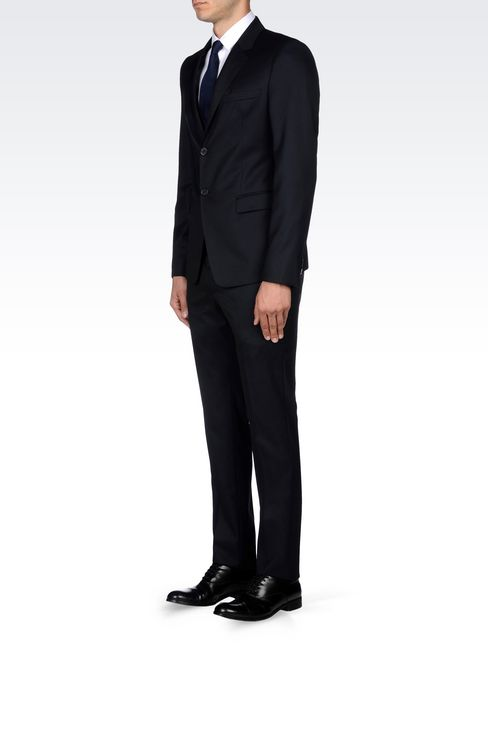 SINGLE-BREASTED SUIT IN HERRINGBONE WOOL: Two buttons suits Men by Armani - 3
