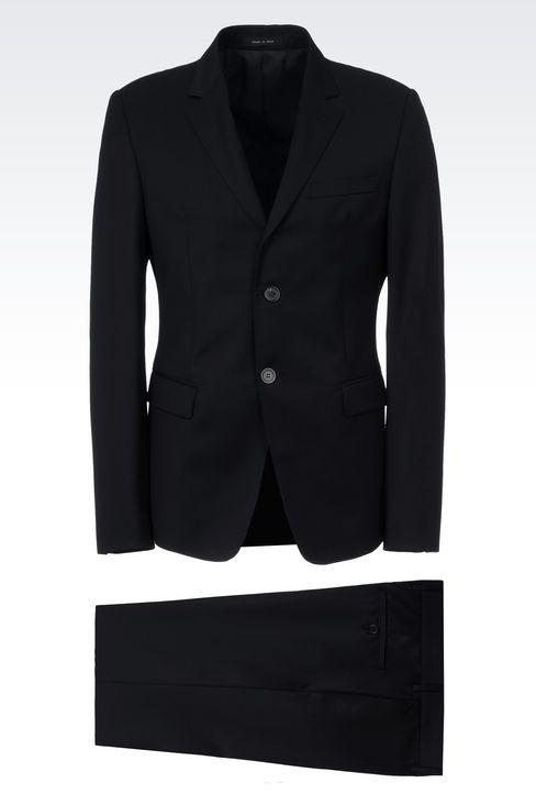 SINGLE-BREASTED SUIT IN HERRINGBONE WOOL: Two buttons suits Men by Armani - 1