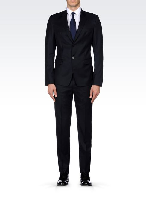 SINGLE-BREASTED SUIT IN HERRINGBONE WOOL: Two buttons suits Men by Armani - 2