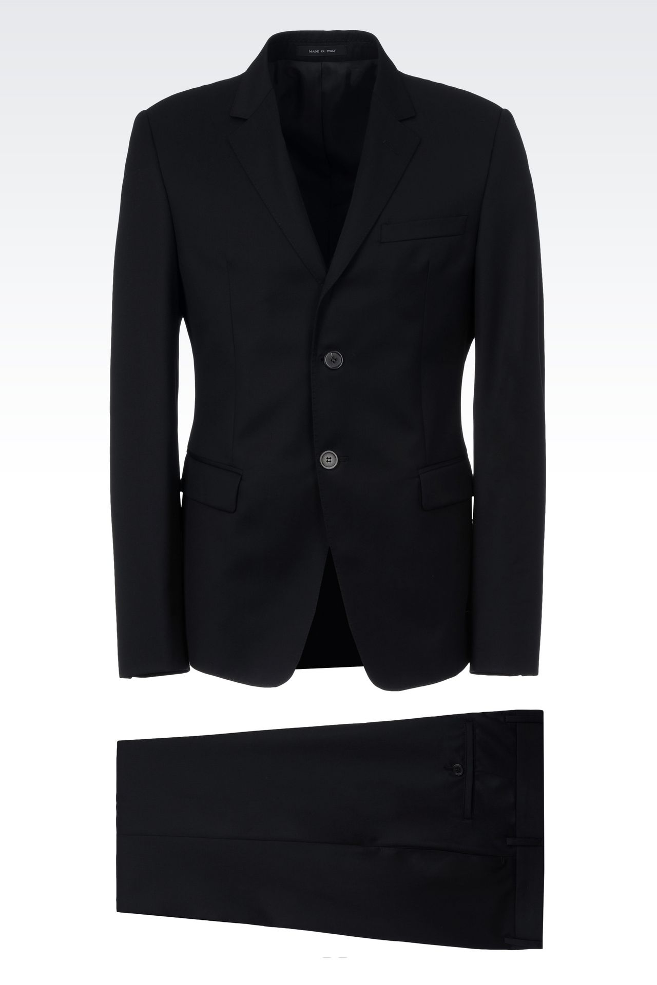 SINGLE-BREASTED SUIT IN HERRINGBONE WOOL: Two buttons suits Men by Armani - 0
