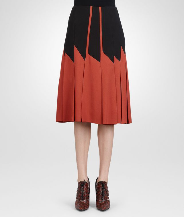 BOTTEGA VENETA BURNT RED NERO CREPE VISCOSE SABLE SKIRT Skirt or pant D fp