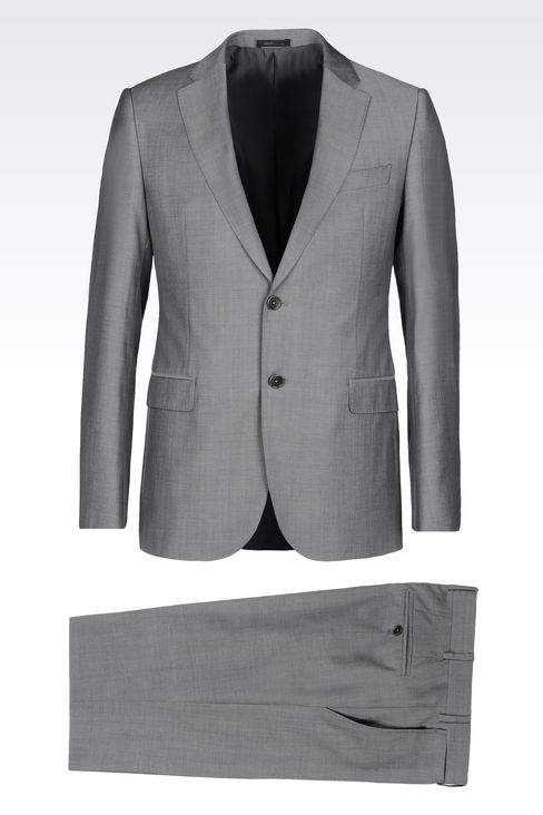 SLIM FIT SUIT IN VIRGIN WOOL: Two buttons suits Men by Armani - 1