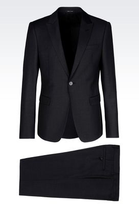 Armani One button suits Men single-breasted suit in worsted wool