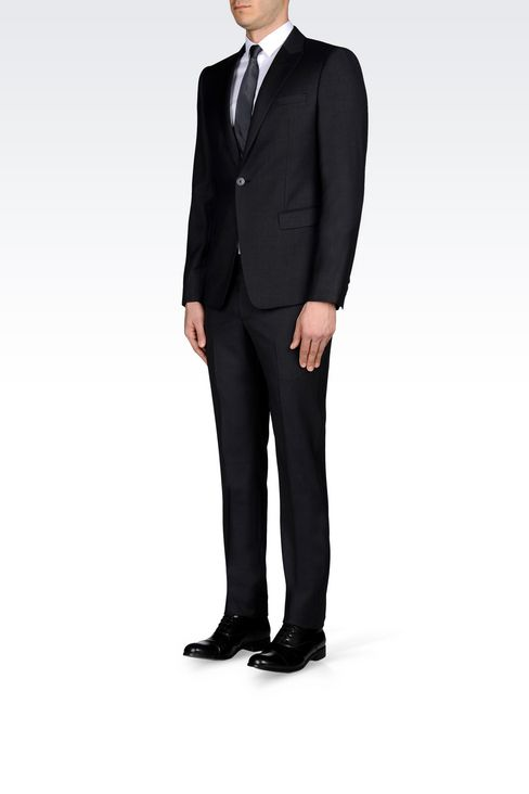 SINGLE-BREASTED SUIT IN WORSTED WOOL: One button suits Men by Armani - 3
