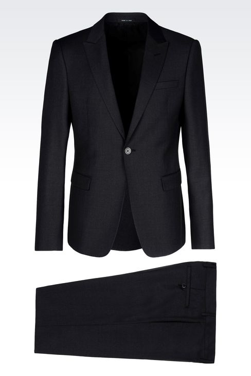 SINGLE-BREASTED SUIT IN WORSTED WOOL: One button suits Men by Armani - 1