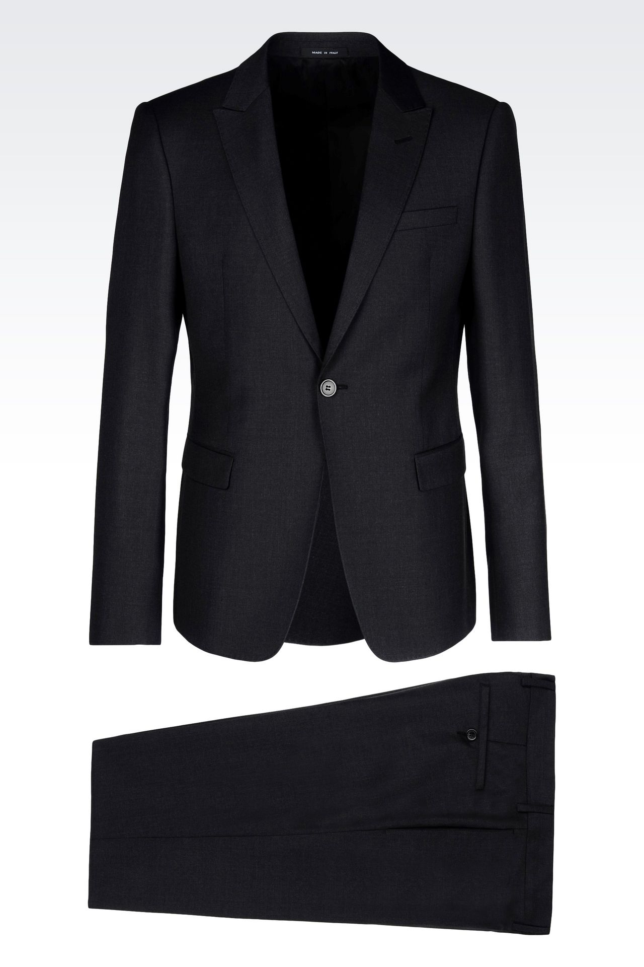SINGLE-BREASTED SUIT IN WORSTED WOOL: One button suits Men by Armani - 0