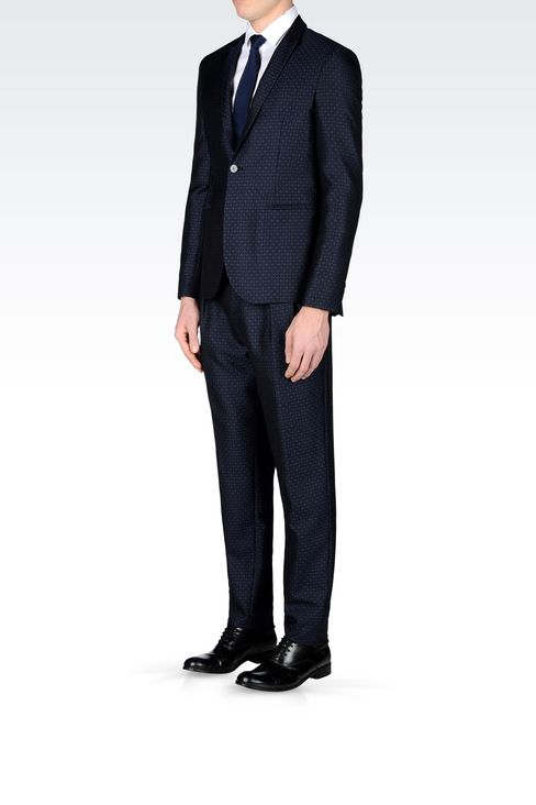 RUNWAY SUIT IN JACQUARD WOOL: One button suits Men by Armani - 3