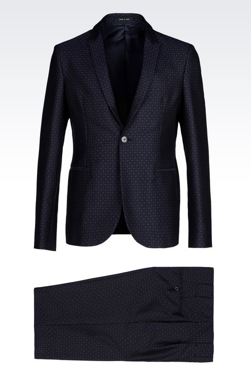RUNWAY SUIT IN JACQUARD WOOL: One button suits Men by Armani - 1