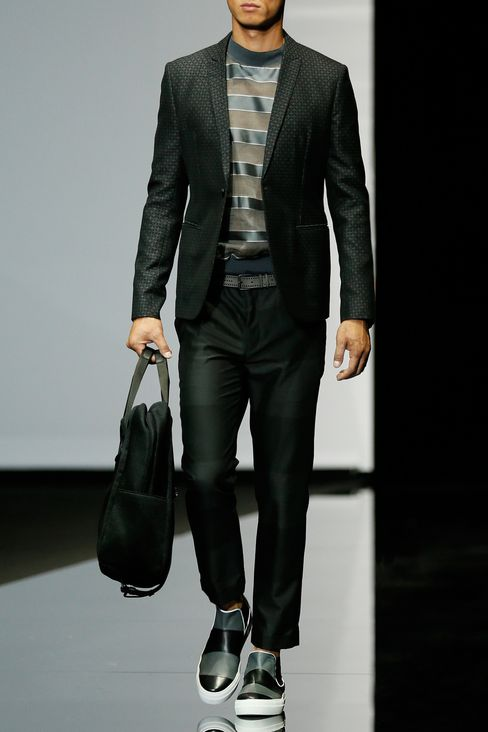 RUNWAY SUIT IN JACQUARD WOOL: One button suits Men by Armani - 2