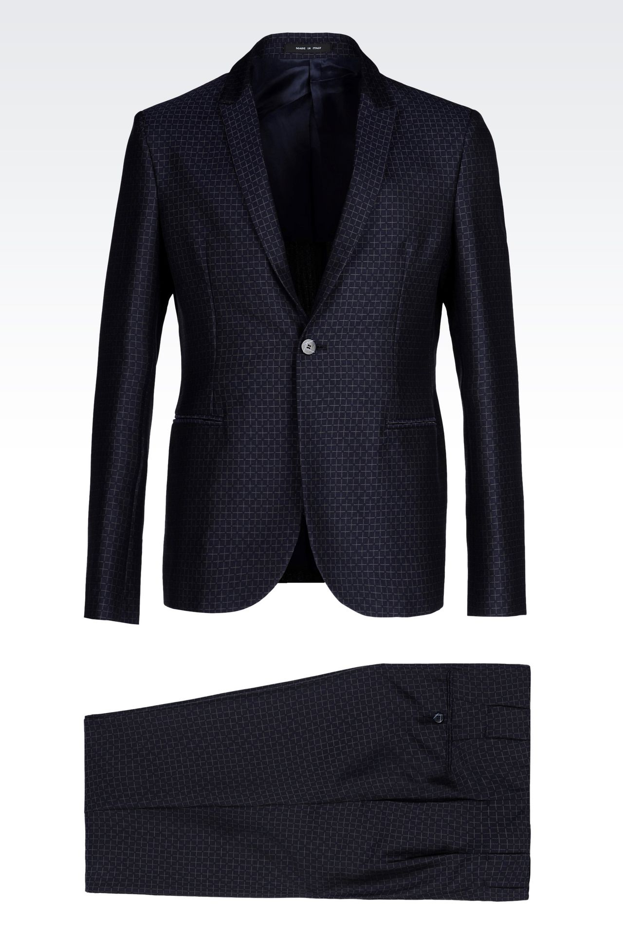 RUNWAY SUIT IN JACQUARD WOOL: One button suits Men by Armani - 0