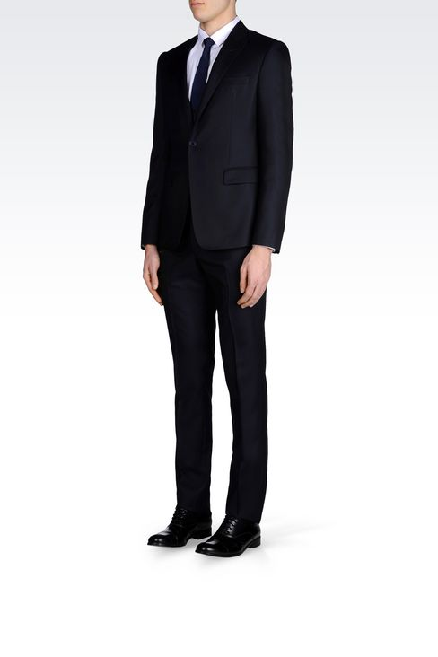 RUNWAY SUIT IN MICRO PINSTRIPE WOOL AND SILK: One button suits Men by Armani - 3
