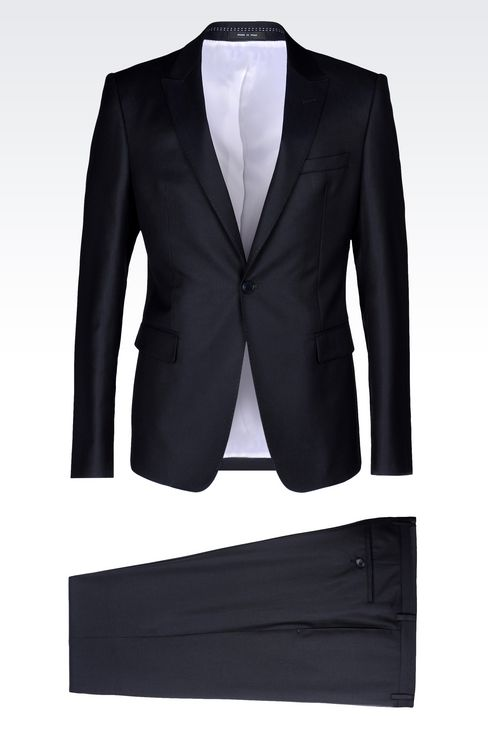 RUNWAY SUIT IN MICRO PINSTRIPE WOOL AND SILK: One button suits Men by Armani - 1