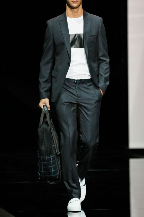 RUNWAY SUIT IN MICRO PINSTRIPE WOOL AND SILK: One button suits Men by Armani - 2