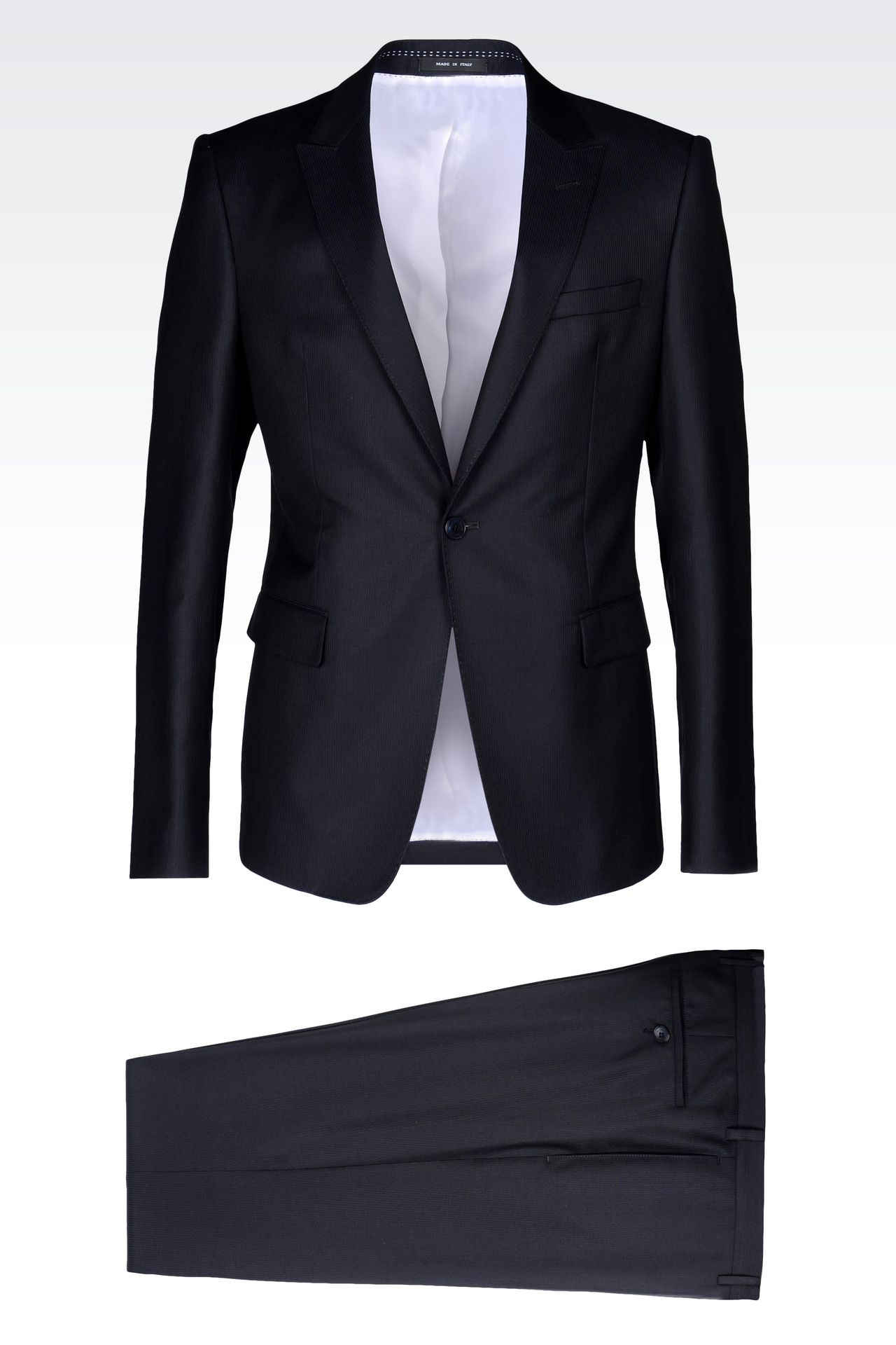 RUNWAY SUIT IN MICRO PINSTRIPE WOOL AND SILK: One button suits Men by Armani - 0