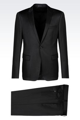 Armani One button suits Men suit in stretch wool satin