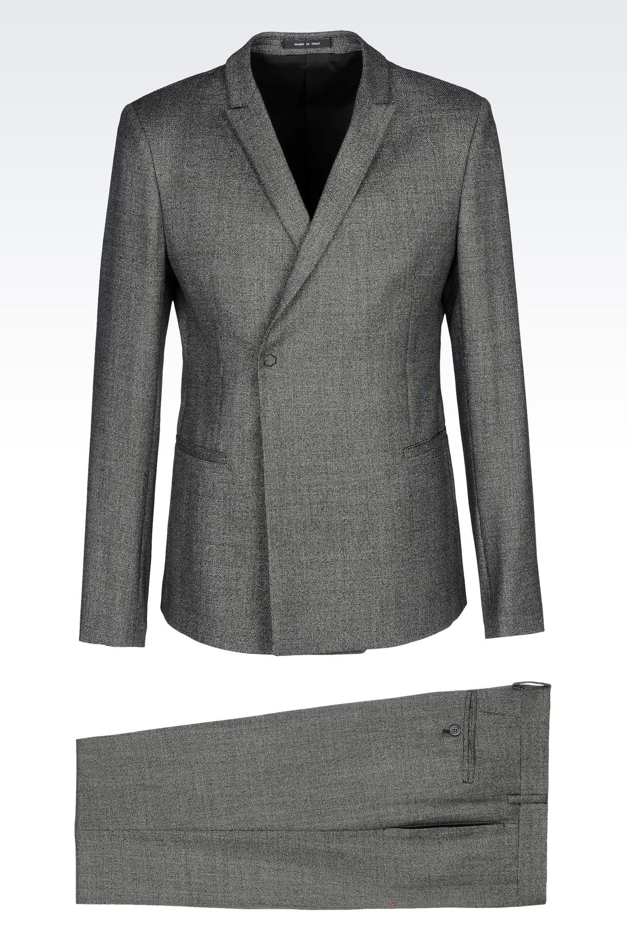 Emporio Armani Men DOUBLE-BREASTED SUIT IN MICRO PATTERNED WOOL