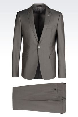 Armani One button suits Men slim fit suit in wool and silk