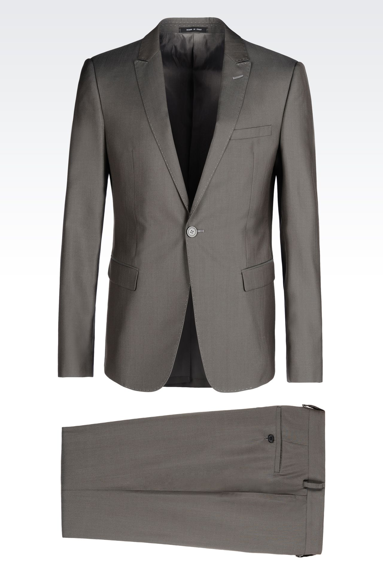 slim fit suit in wool and silk one button suits men by armani 0. Black Bedroom Furniture Sets. Home Design Ideas