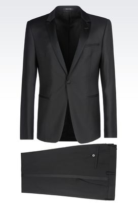 Armani One button suits Men dinner suit in virgin wool