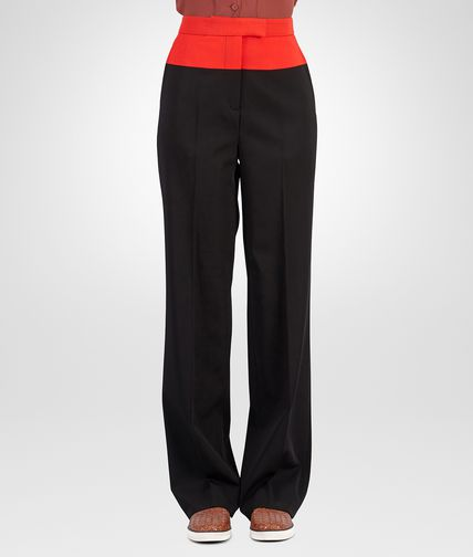 TROUSERS IN NERO VESUVIO WOOL GABARDINE