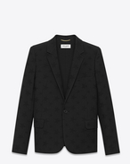 Single Breasted Jacket in Black Star Virgin Wool Jacquard