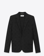 Einreiher-Jacke aus schwarzer Schurwolle mit Sternenjacquard