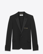 "Iconic LE SMOKING Single Breasted ""TOO LATE"" Jacket in Black Virgin Wool Gabardine"