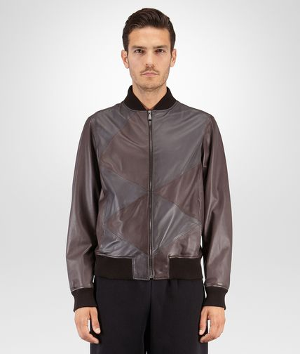 BLOUSON IN ESPRESSO DARK ARDOISE LAMBSKIN INLAY DETAIL