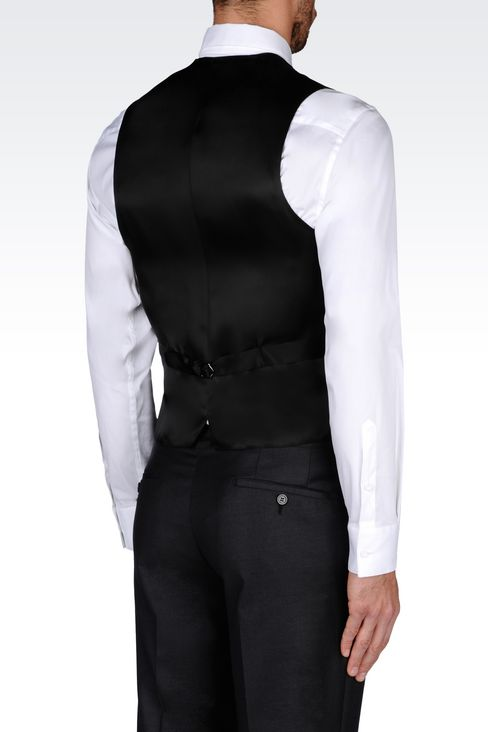 GILET IN WOOL AND SILK: Gilets Men by Armani - 3