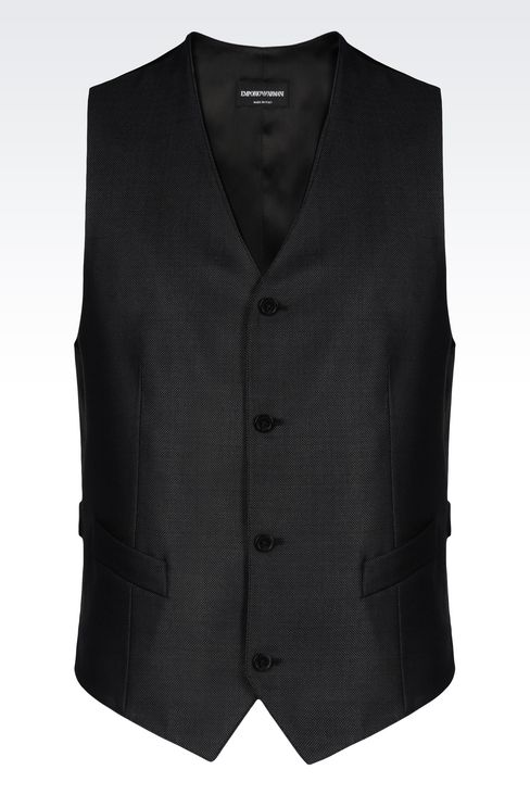 GILET IN WOOL AND SILK: Gilets Men by Armani - 1