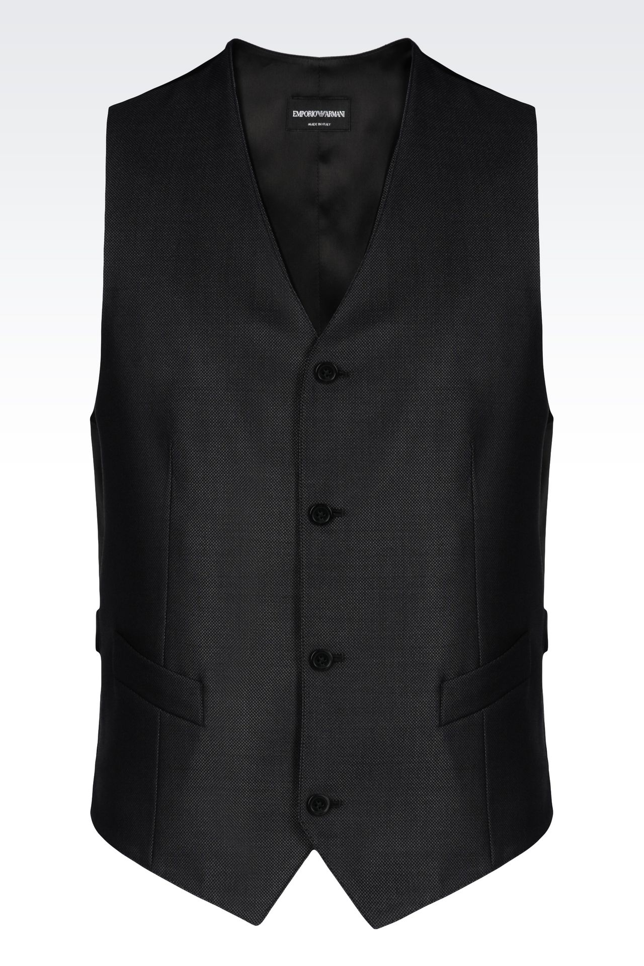 GILET IN WOOL AND SILK: Gilets Men by Armani - 0