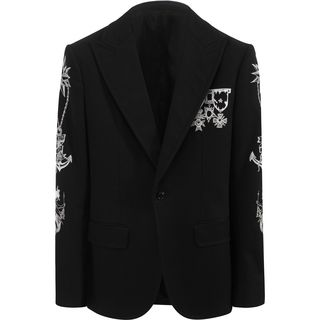 ALEXANDER MCQUEEN, Tailored Jacket, Embroidered One Button Peak Lapel Jacket