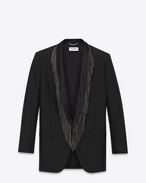 Oversized Single-Breasted 1-Button Fringed Lapel Jacket in Black Mohair and Wool