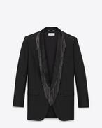 Veste oversize 1 bouton en laine et mohair noirs, avec boutonnage simple et revers à franges